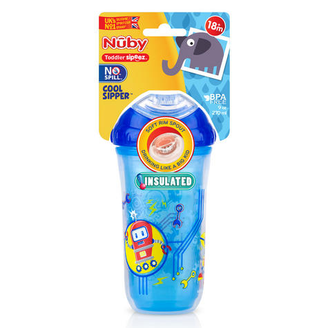 Nuby Kids Easy Cool Insulated Sipper Spout No-Spill Toddler 270ml Cup +18m Thumbnail 2
