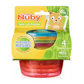Nuby Baby Easy Travel Storage Non-Spill Stackable Food Bowls With Lids 4 Pack