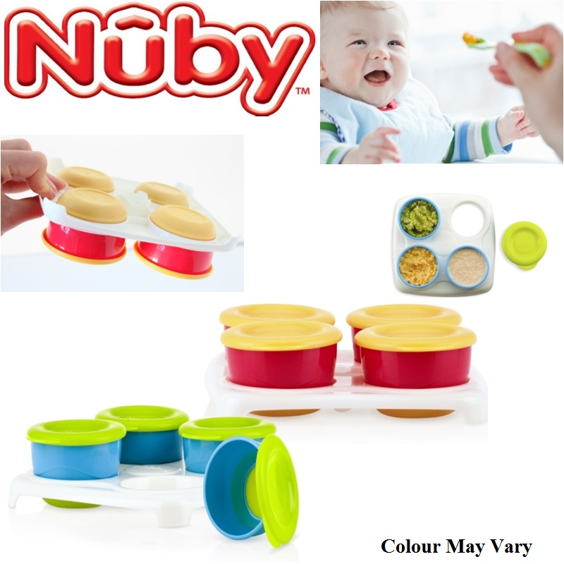 Nuby Garden Fresh Baby Food Freezing Storage Easy Seal Lid Cubes Tray 4 Pots