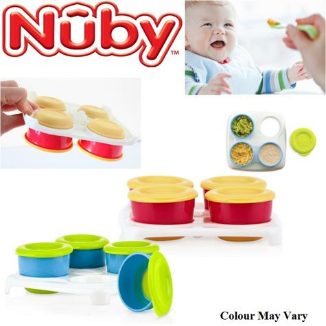 Nuby Garden Fresh Baby Food Freezing Storage Easy Seal Lid Cubes Tray 4 Pots Thumbnail 1