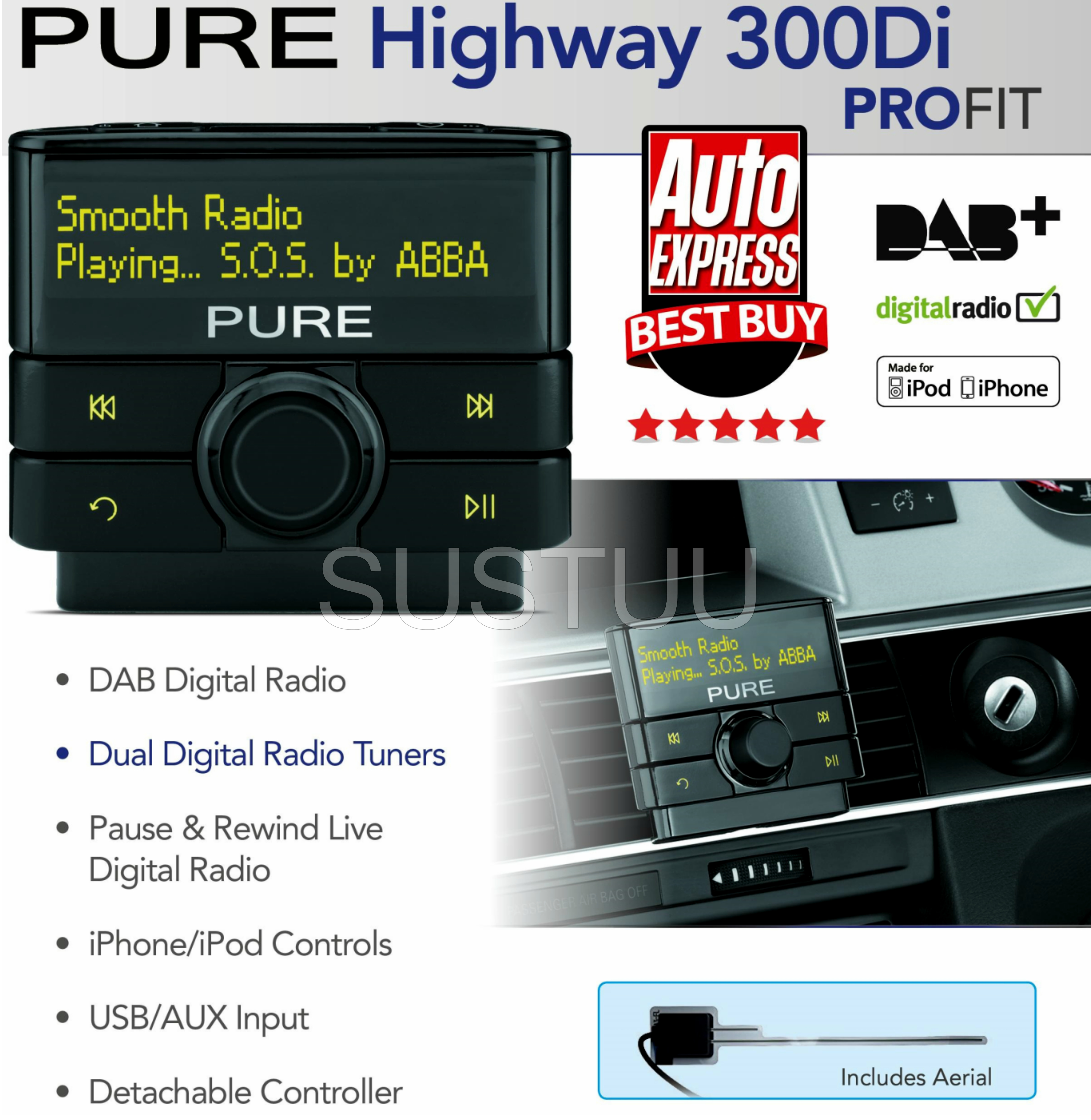 pure highway 300di dab kfz digital radio audio adapter. Black Bedroom Furniture Sets. Home Design Ideas
