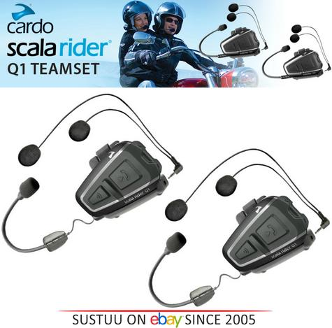 Cardo Scala Q1 Teamset Motorcycle Bluetooth Intercom Headset GPS Rider-Passenger Thumbnail 1
