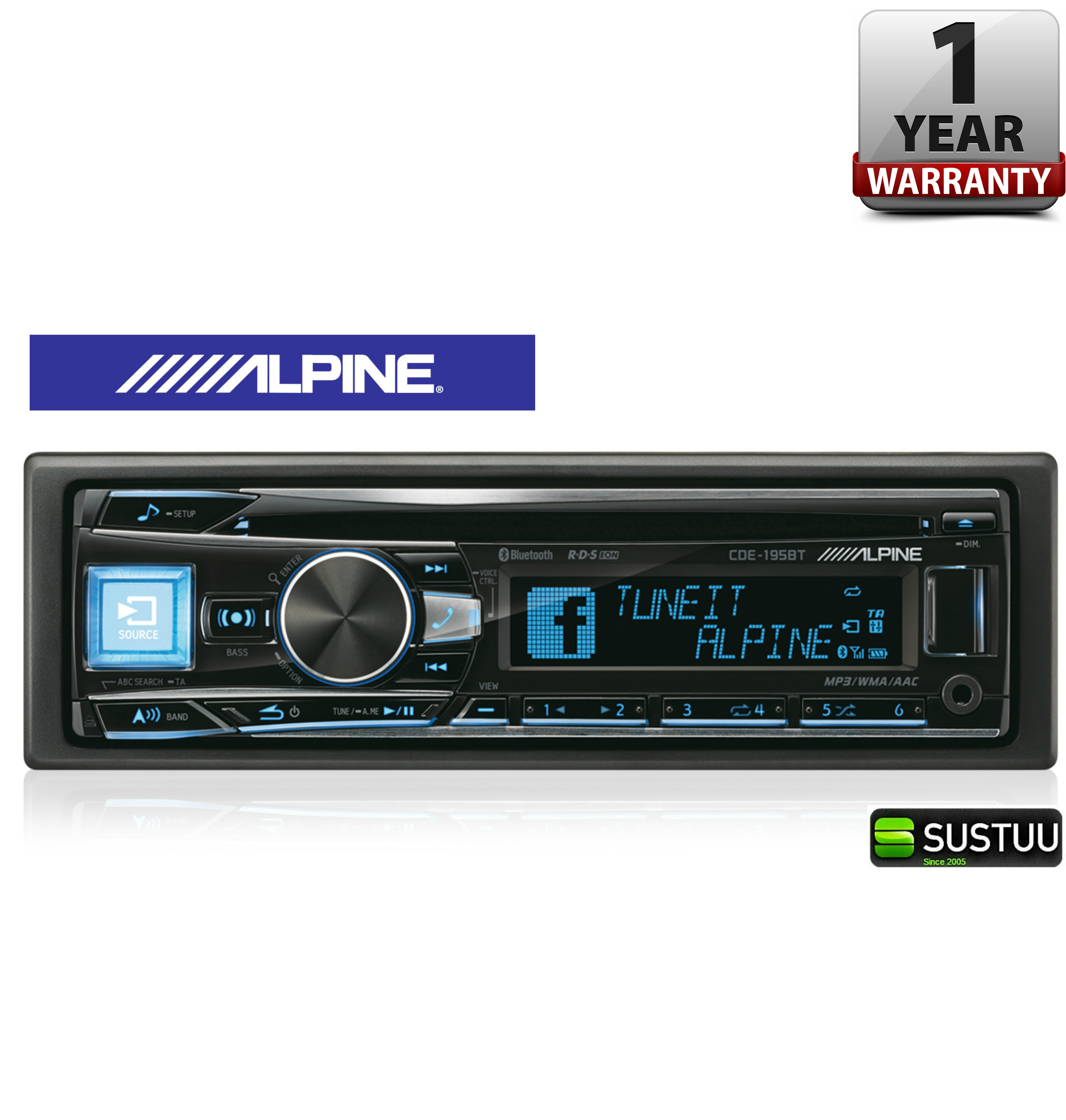 new alpine cde 195bt car stereo fm mw lw cd aux usb. Black Bedroom Furniture Sets. Home Design Ideas