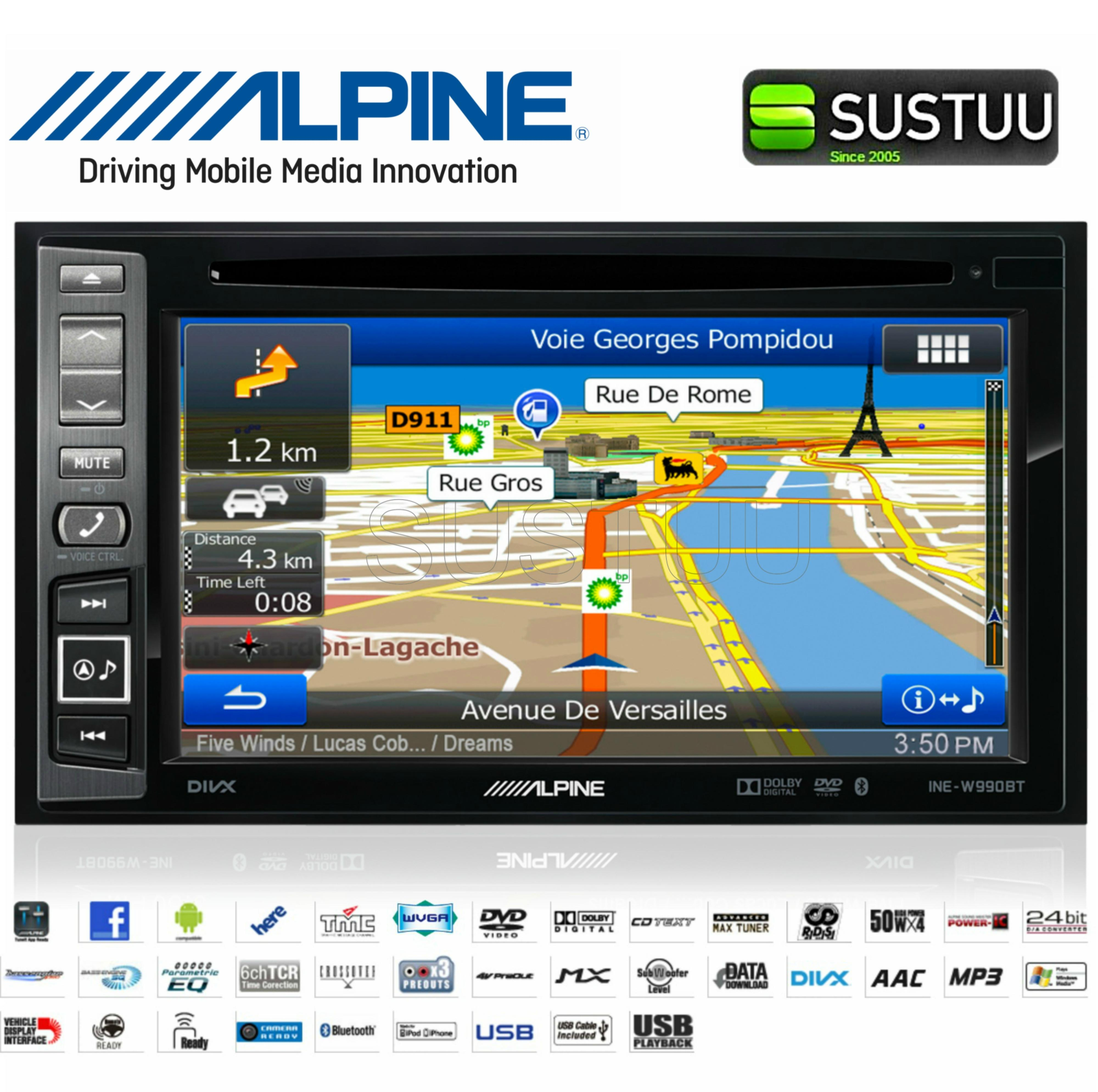 alpine ine w990bt doppel din 6 1 gps navi radio dvd cd mp3 bluetooth gebaut ebay. Black Bedroom Furniture Sets. Home Design Ideas