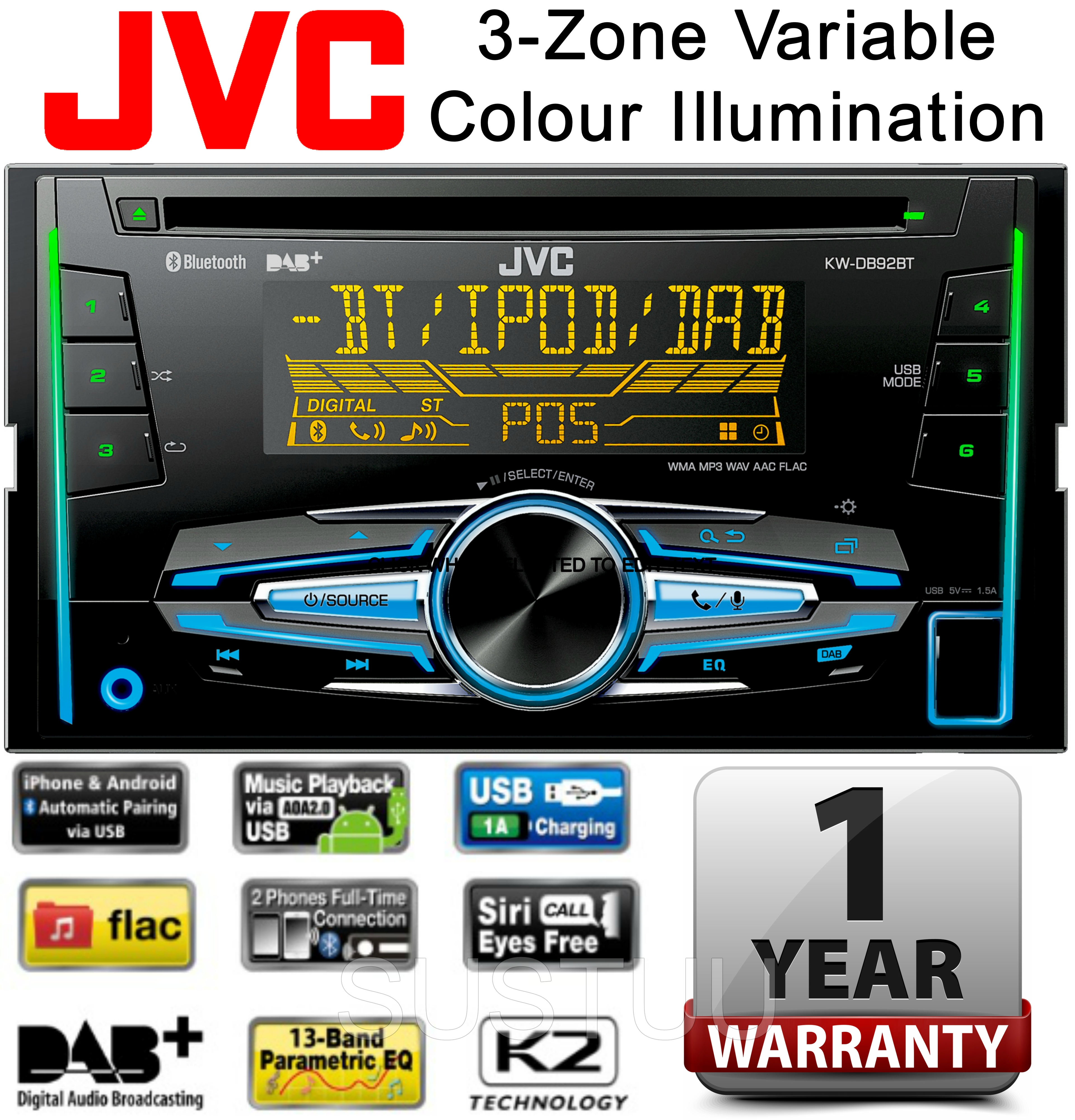 jvc kw db92bt car stereo 2 double din radio usb aux dab. Black Bedroom Furniture Sets. Home Design Ideas