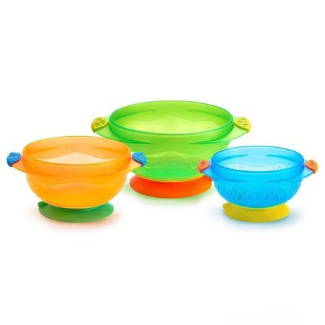 Munchkin Baby Feeding Weaning Non-Spill Stay Put Suction Toddler Bowl Set +6m Thumbnail 2