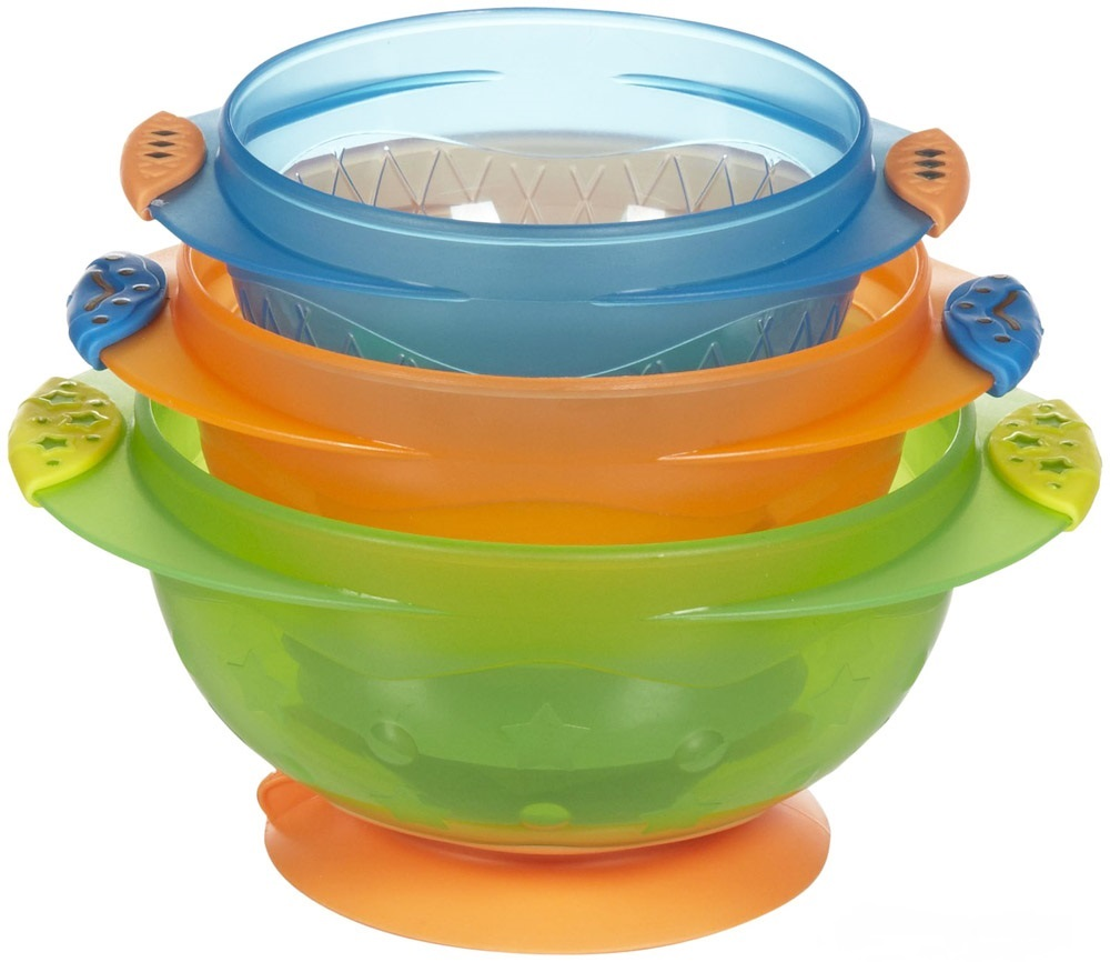 Munchkin Baby Feeding Weaning Non-Spill Stay Put Suction Toddler Bowl Set +6m