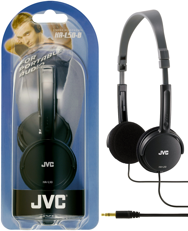 JVC HA-L50 Foldable Light Weight Stereo Over Ear Earphones Headphones - Black