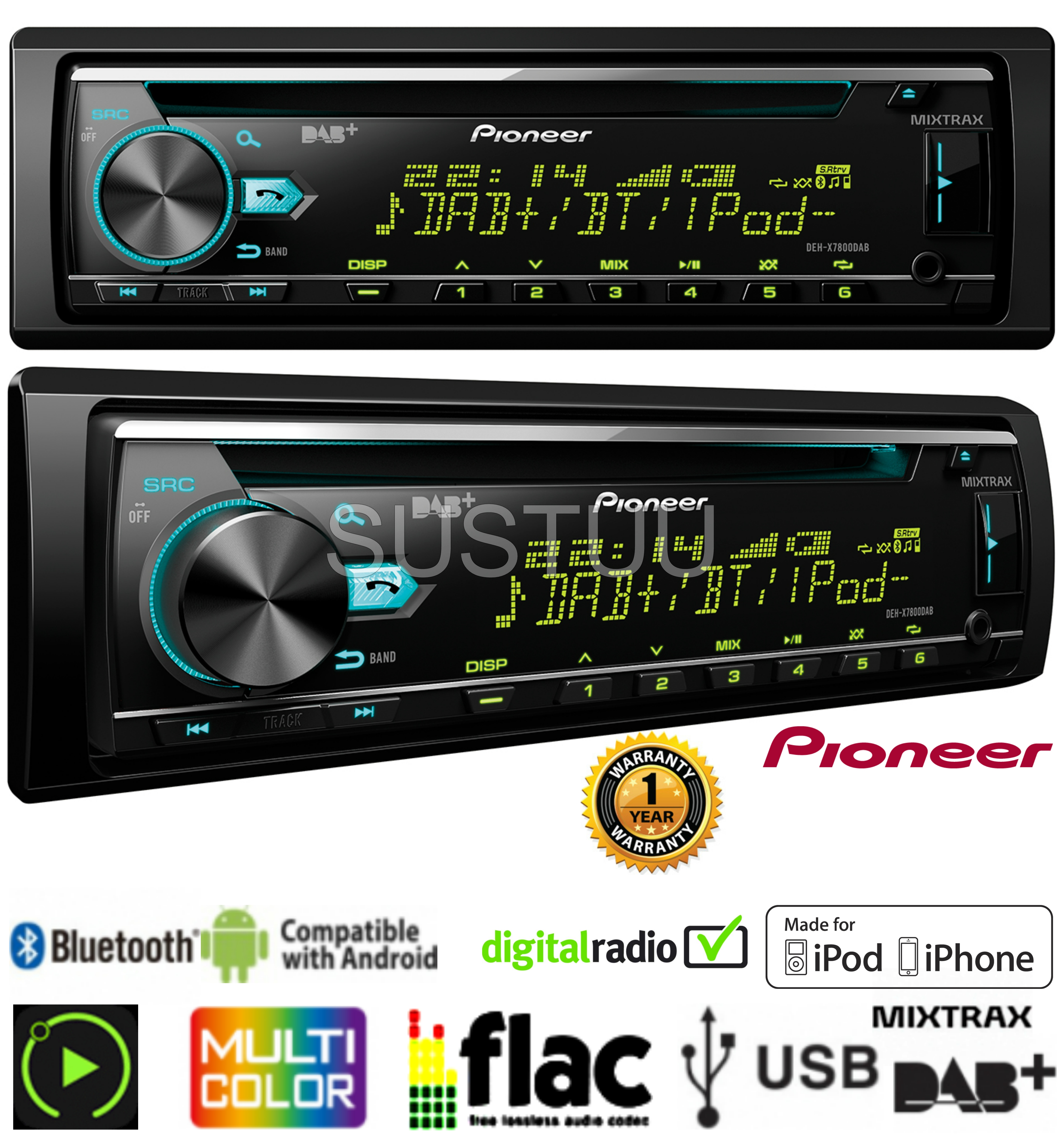 mp3 wma bluetooth usb aux in car stereo pioneer deh. Black Bedroom Furniture Sets. Home Design Ideas