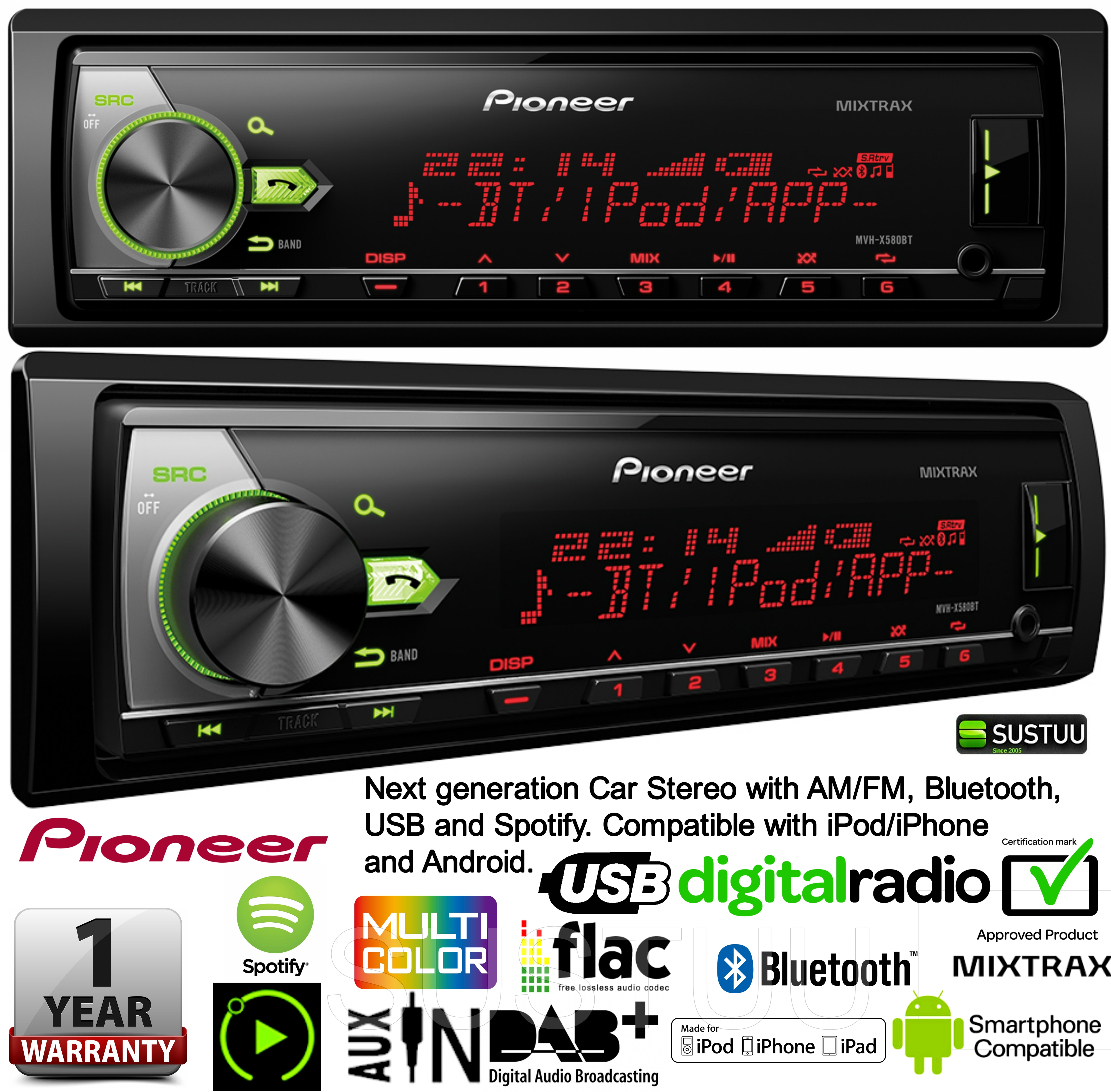 Pioneer Car Stereo AM/FM Bluetooth USB Compatible for iPod/iPhone and Android