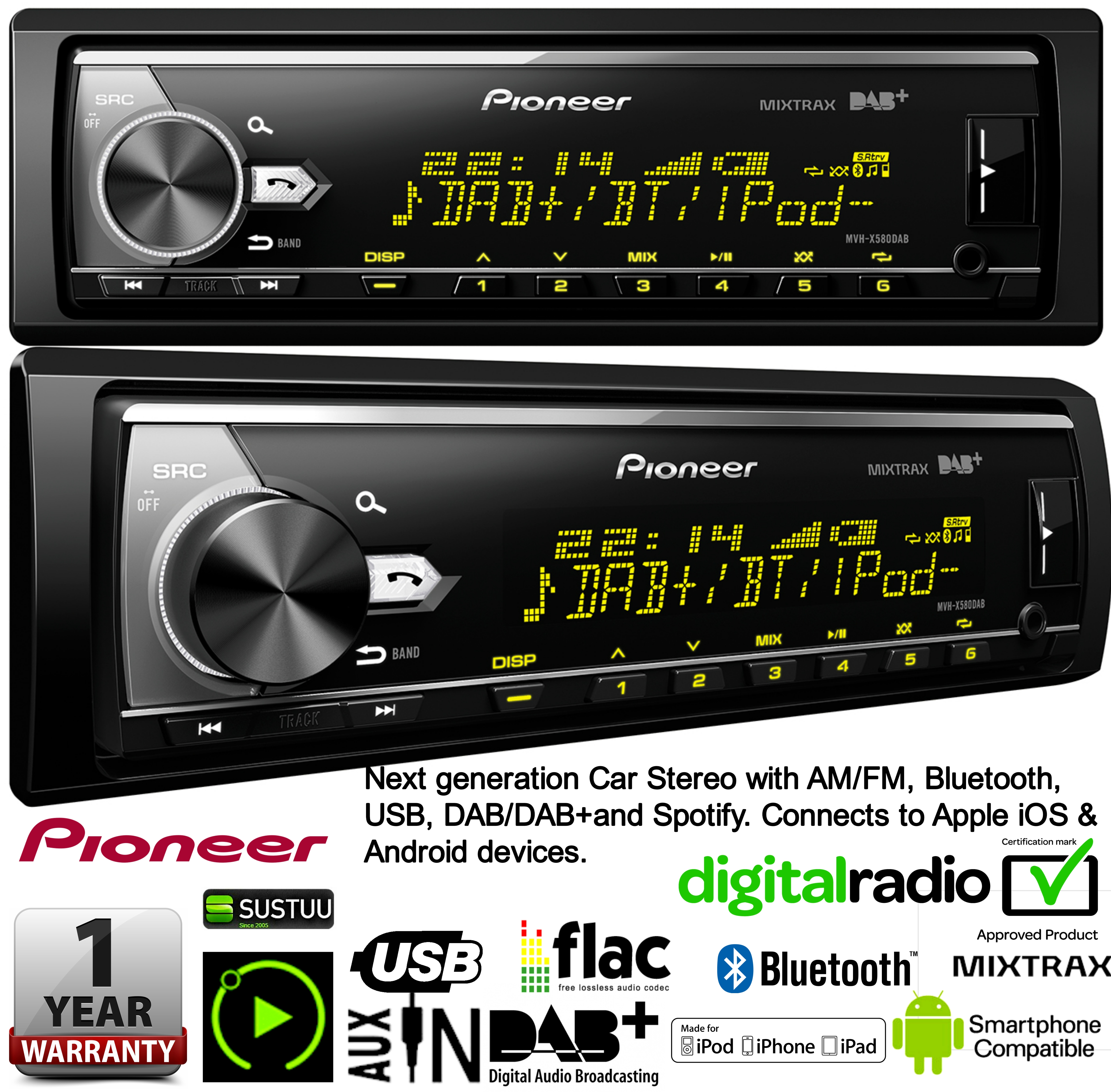 pioneer mvh x580dab autoradio am fm usb bluetooth dab spotify apple android. Black Bedroom Furniture Sets. Home Design Ideas