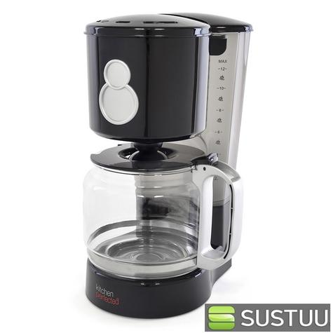 Lloytron KitchenPerfected 12 Cup Coffee Maker  800W Black and Silver E1712BK Thumbnail 1