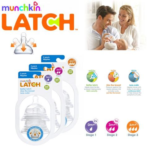 Munchkin Latch Baby Silicone Anti-Colic Wide Neck Teats 2 Pack Stages 1, 2 or 3 Thumbnail 1