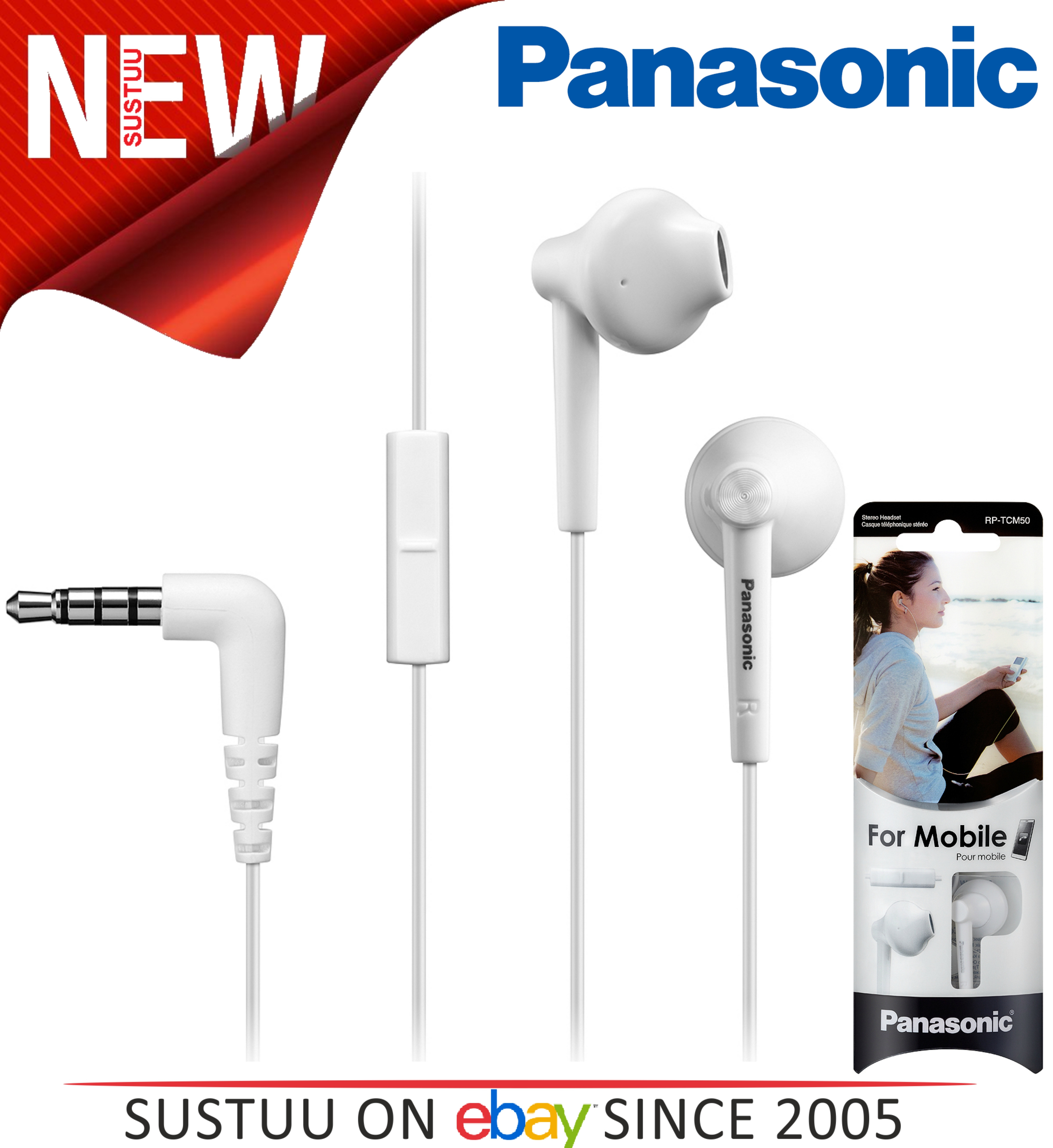 Panasonic Stereo In-Ear Earphones with Mic 3.5mm for iPhone Android SmartPhone