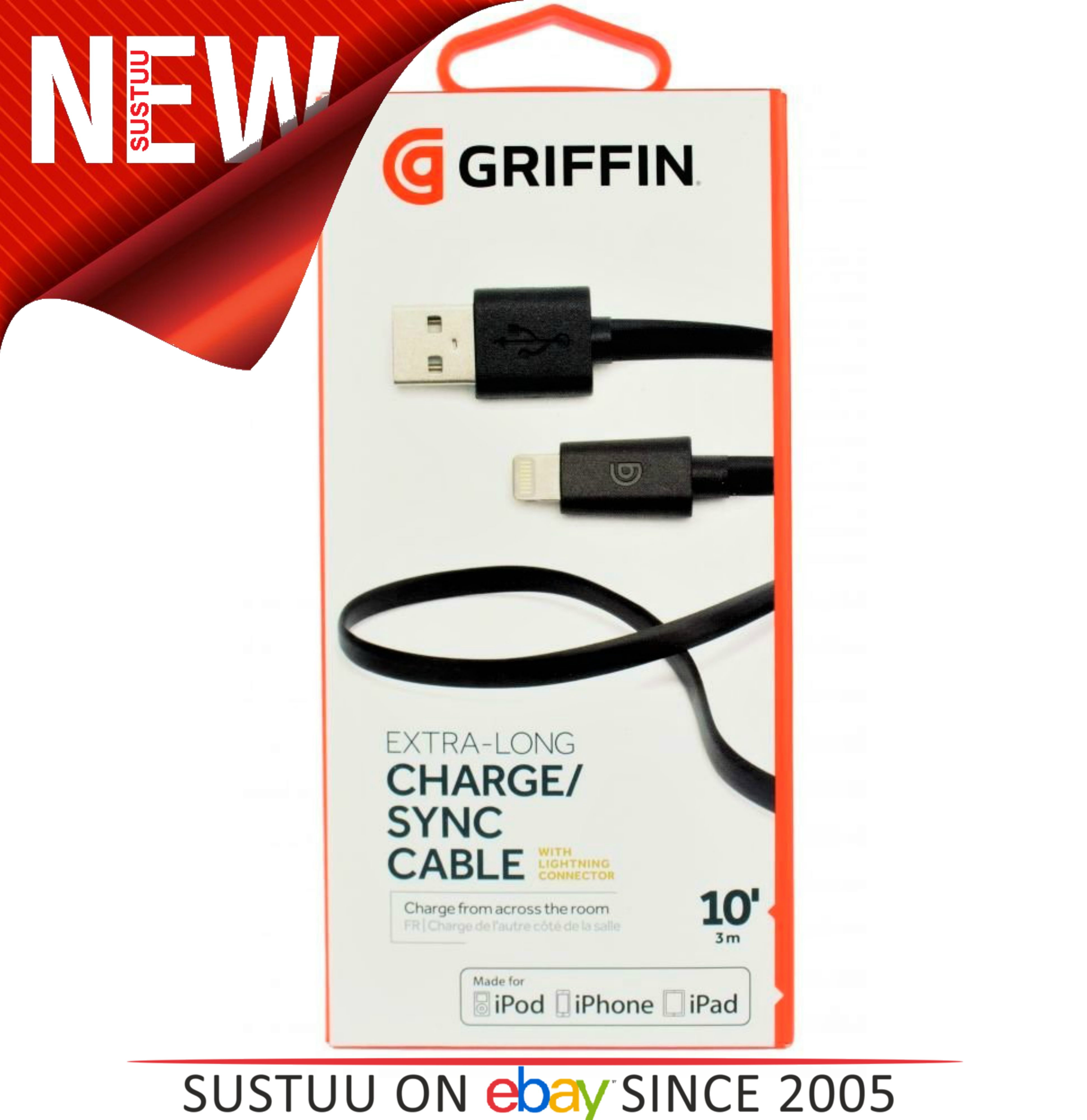 Griffin GC36633 3M 10ft Lightning Connector Charge/Sync Cable - iPhone iPod iPad