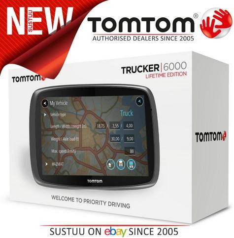 TomTom Trucker 6000 Lifetime Edition  GPS SatNav UK EU Maps-Live Traffic-Cameras Thumbnail 1