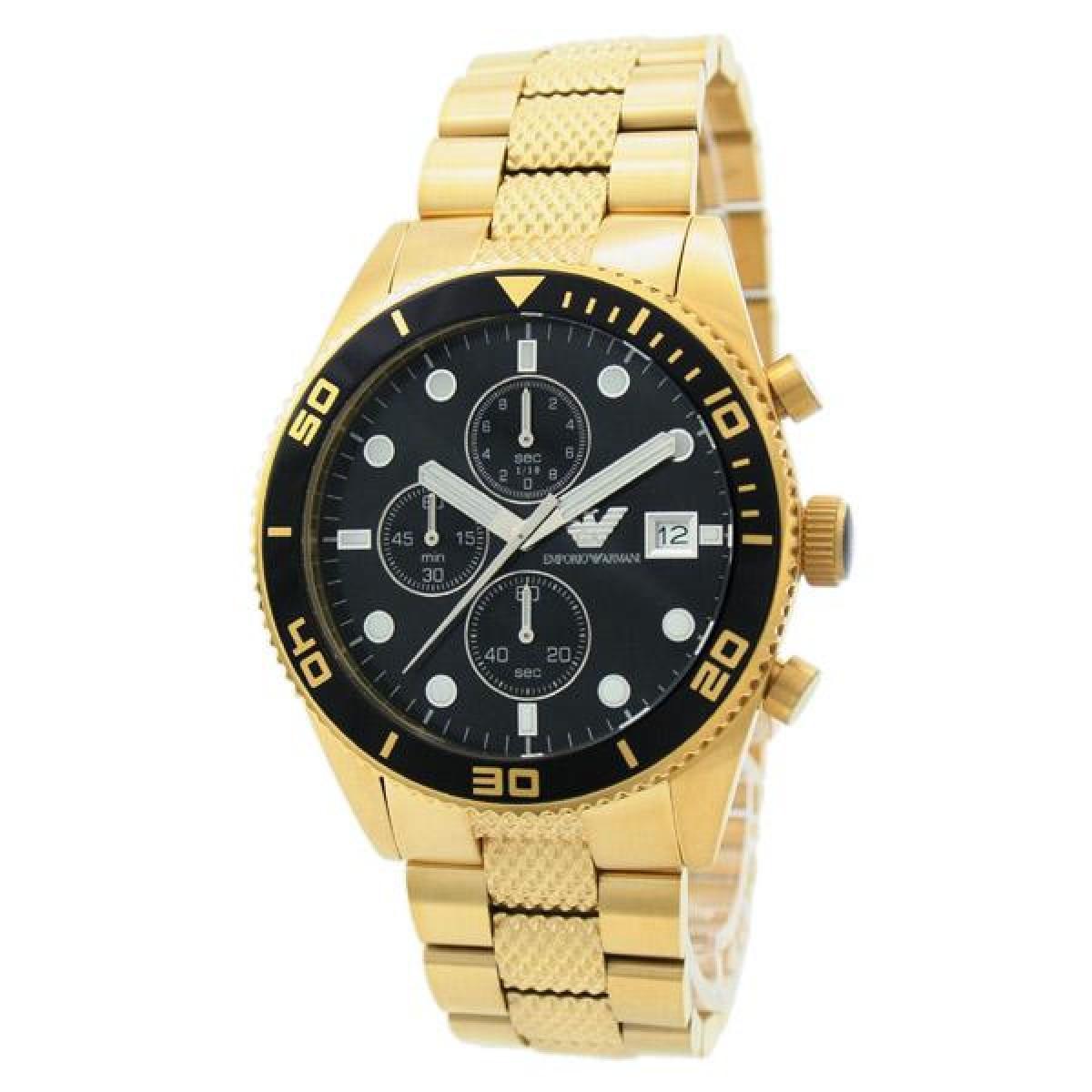 emporio armani gents classic gold bracelet black