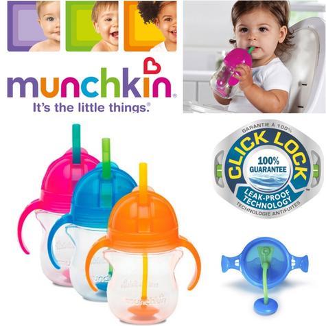 Munchkin Baby Non-Spil Click Lock Tip & Sip Straw Toddler Training Cup 7oz +6m Thumbnail 1