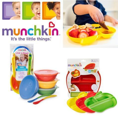 Munchkin Baby Self-Feeding Toddler Bowls Or Plates Easy Feeding Set +6 Months Thumbnail 1