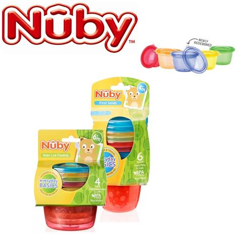 Nuby Colourful Baby Easy Travel Storage Non-Spill Food Pots Newly Design Lids Thumbnail 1