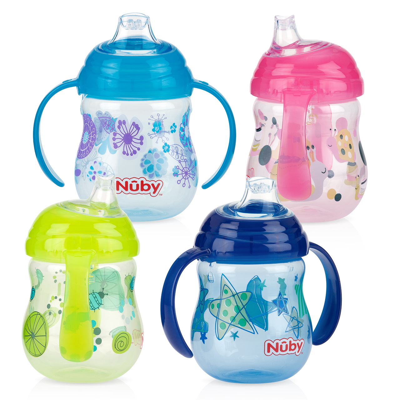 Nuby Baby Design Grip N Sip Toddler Non Spill Silicone Spout Leak Proof 240ml