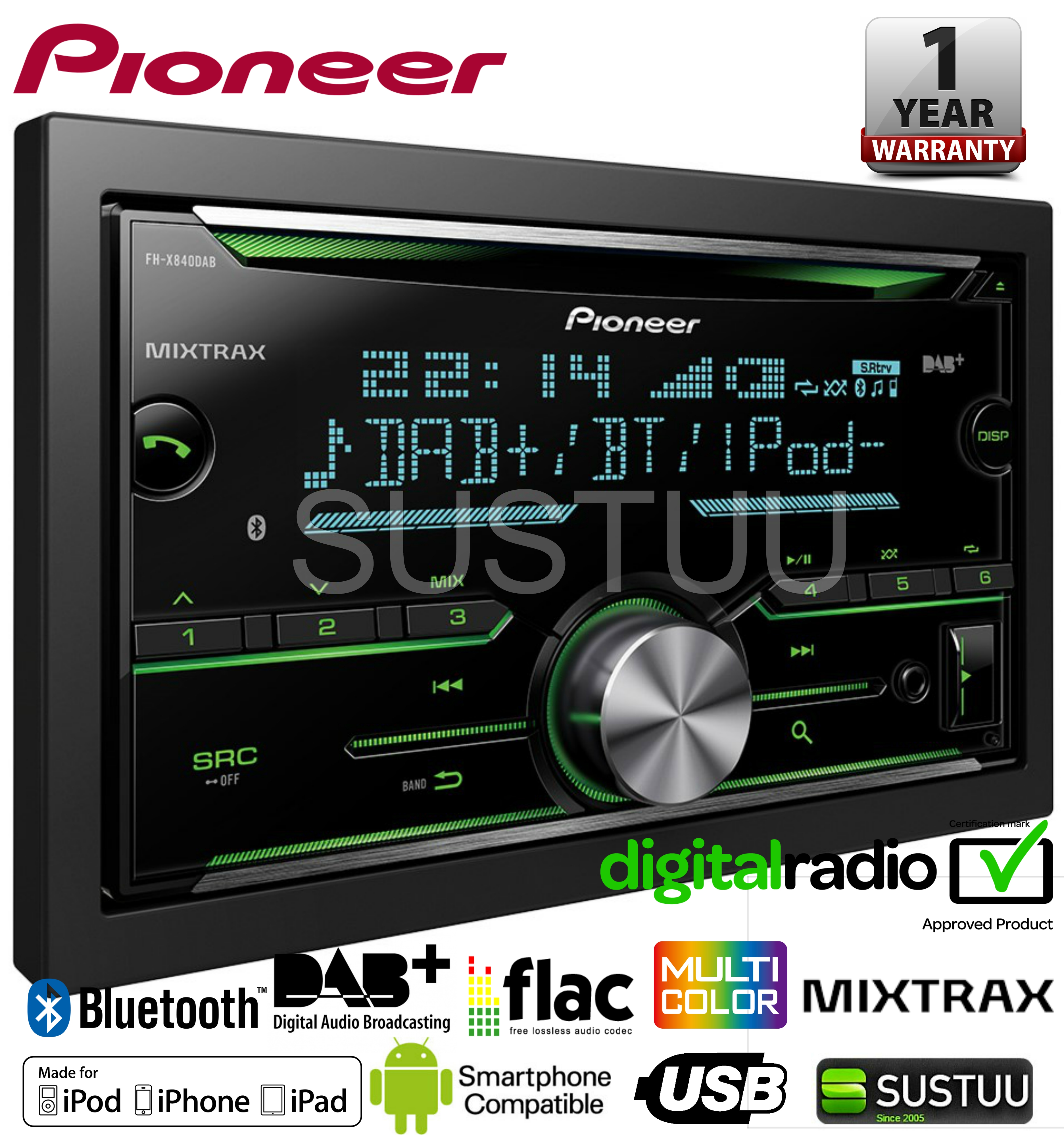 pioneer fh x840dab 2 din bluetooth spotify dab dab usb. Black Bedroom Furniture Sets. Home Design Ideas