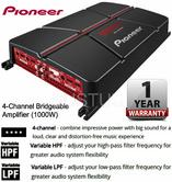 Pioneer GM A6704 Bridgeable 4 Channel Powerful Car Audio Amplifier 1000 Watt NEW