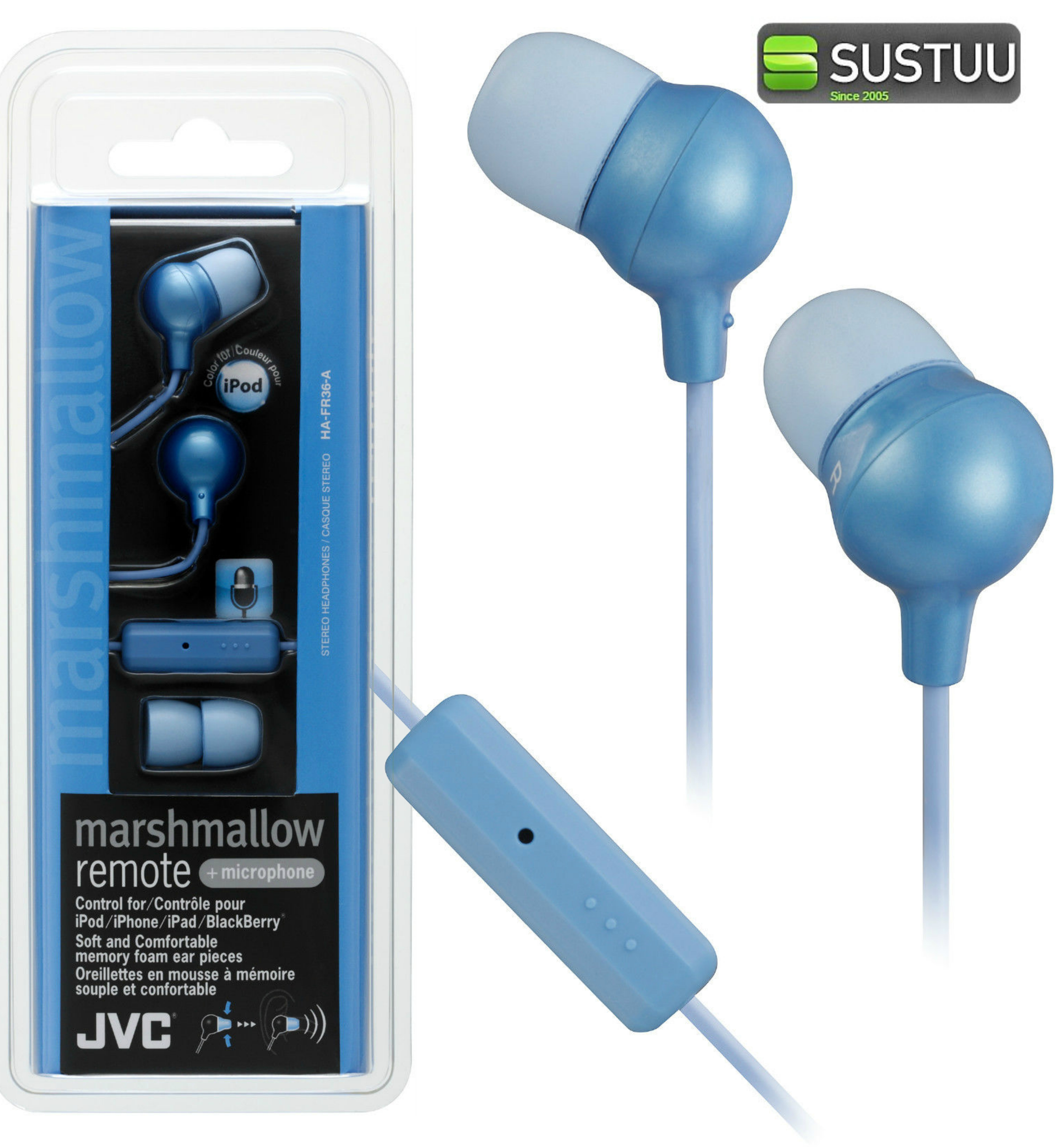 JVC Marshmallow REMOTE Control + Mic Stereo Earphones BLUE for iPhone iPod iPad