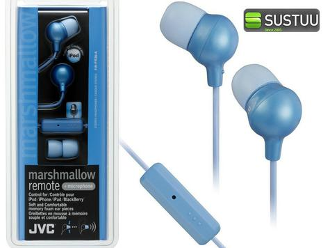 JVC Marshmallow REMOTE Control + Mic Stereo Earphones BLUE for iPhone iPod iPad Thumbnail 4