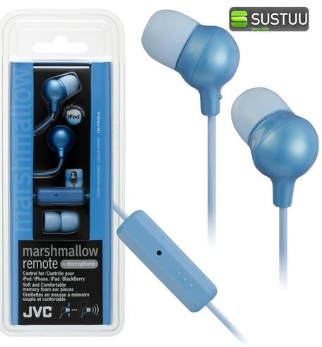 JVC Marshmallow REMOTE Control + Mic Stereo Earphones BLUE for iPhone iPod iPad Thumbnail 1