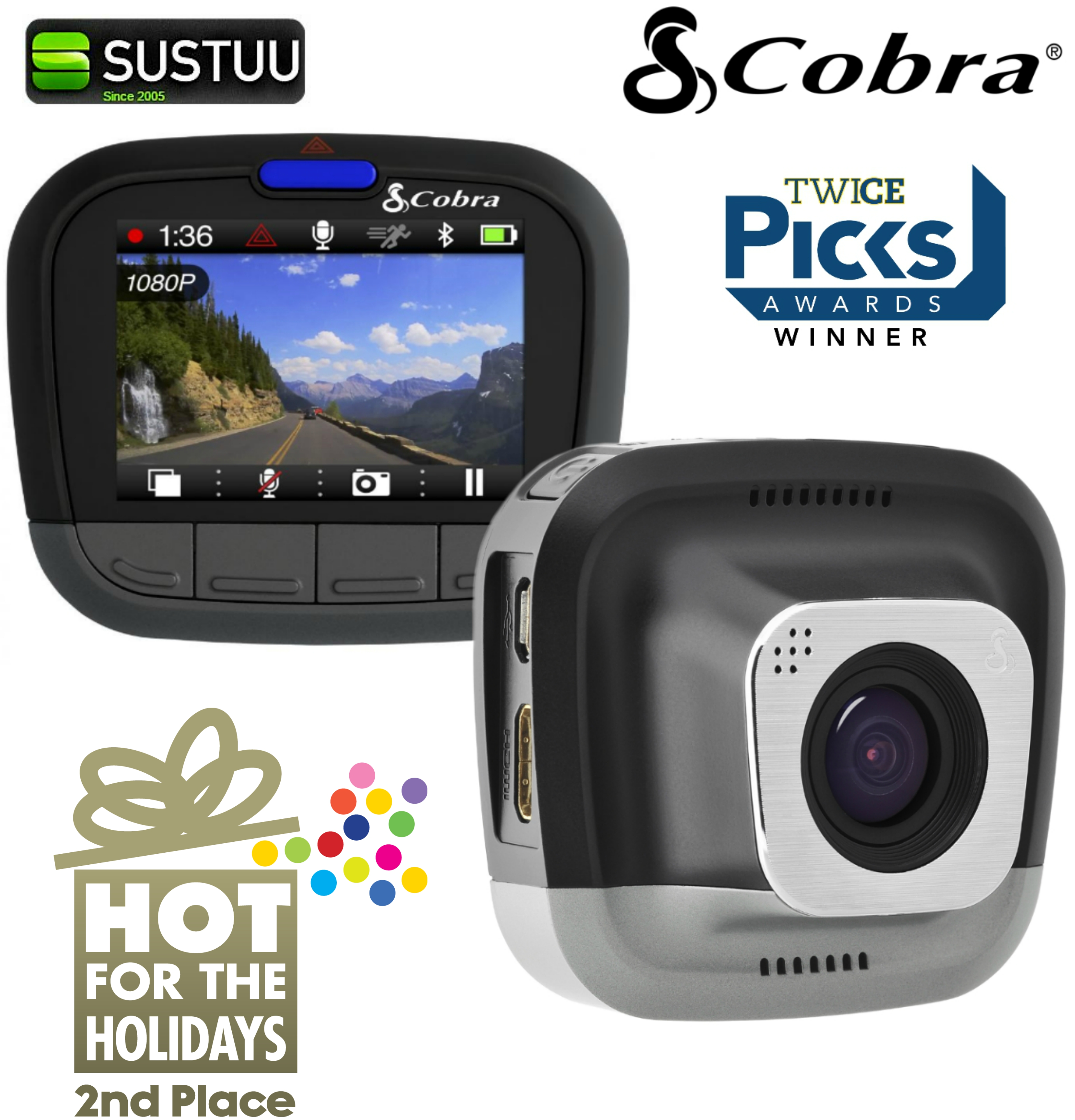 Cobra CDR 855 HD Ultra Wide DashCam 1080P HD Bluetooth & GPS Accident Recording