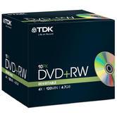 TDK DVD+RW Rewritable Disc + Jewel Case - 4X Speed - 120MIN - 4.7GB - Pack of 10