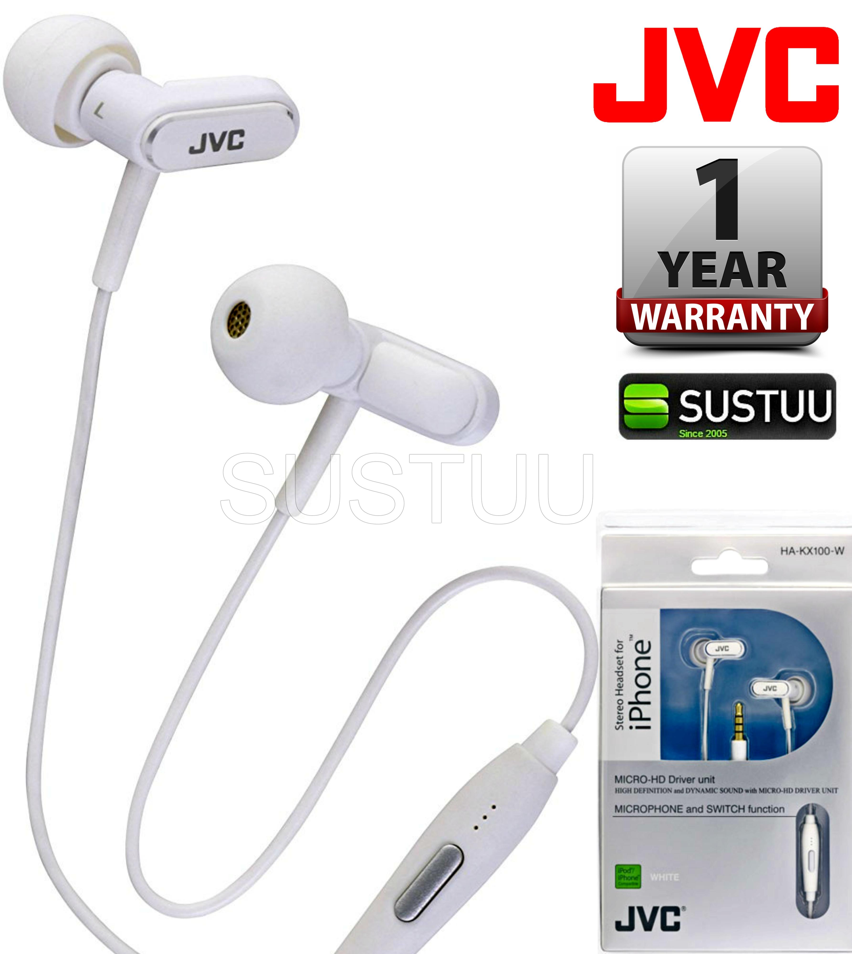 JVC HA-KX100-W In Ear Stereo Headset Headphone 3.5mm Jack for Apple iPhone iPod