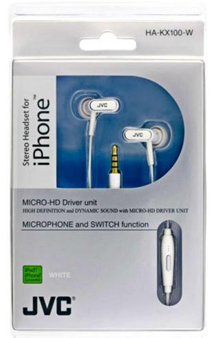 JVC HA-KX100-W In Ear Stereo Headset Headphone 3.5mm Jack for Apple iPhone iPod Thumbnail 2