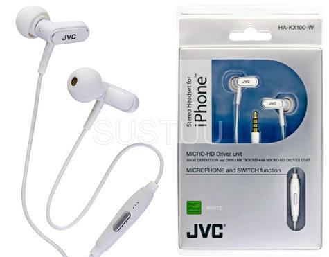 JVC HA-KX100-W In Ear Stereo Headset Headphone 3.5mm Jack for Apple iPhone iPod Thumbnail 4