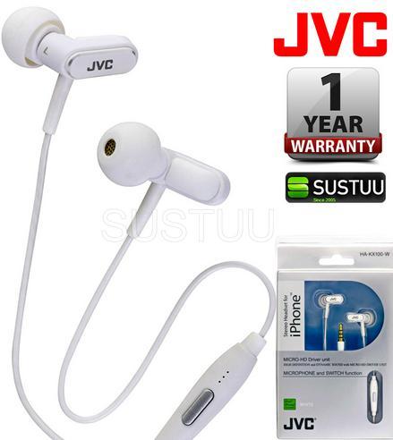 JVC HA-KX100-W In Ear Stereo Headset Headphone 3.5mm Jack for Apple iPhone iPod Thumbnail 1