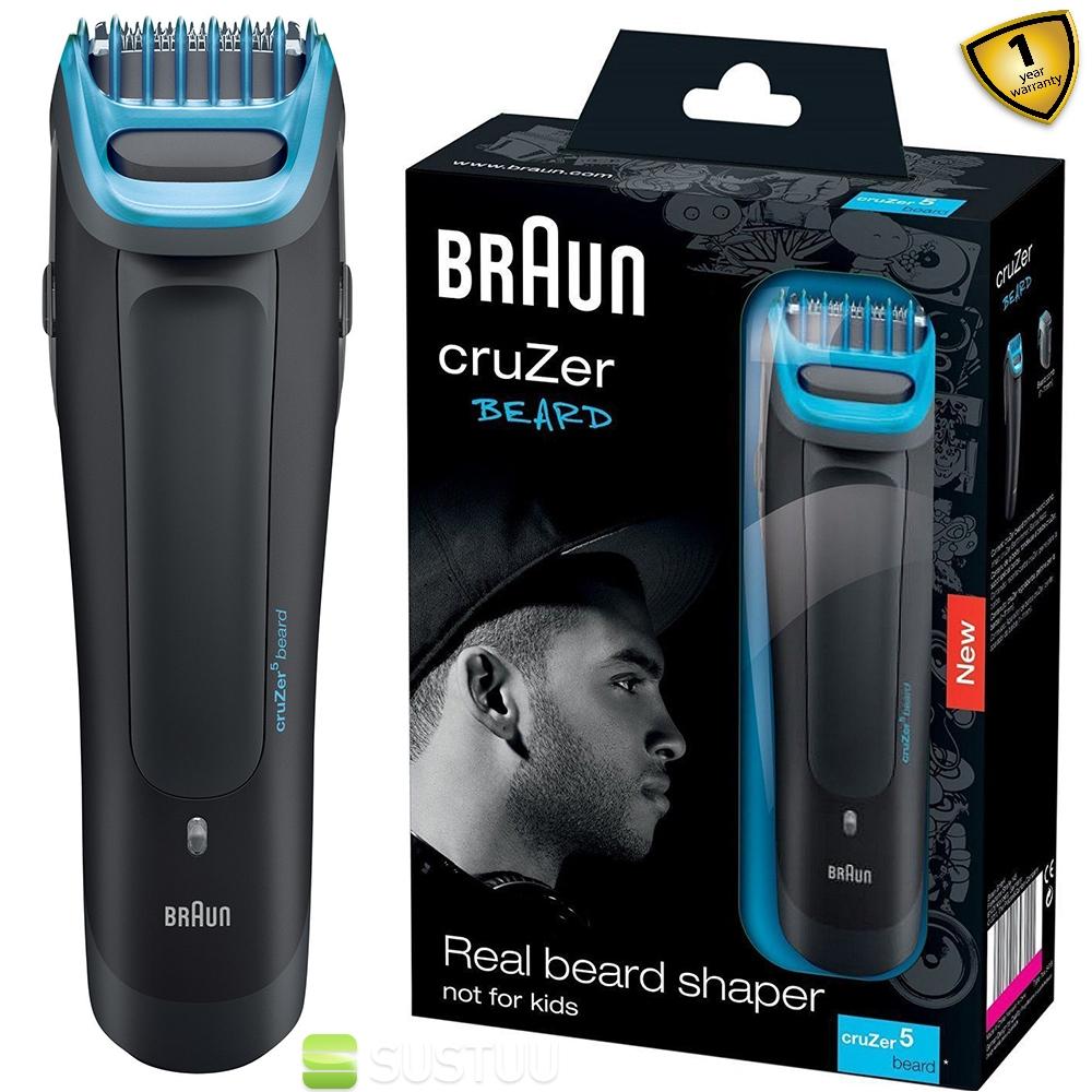 braun cruzer5 cordless rechargeable mens beard shaper trimmer washable shaver ebay. Black Bedroom Furniture Sets. Home Design Ideas