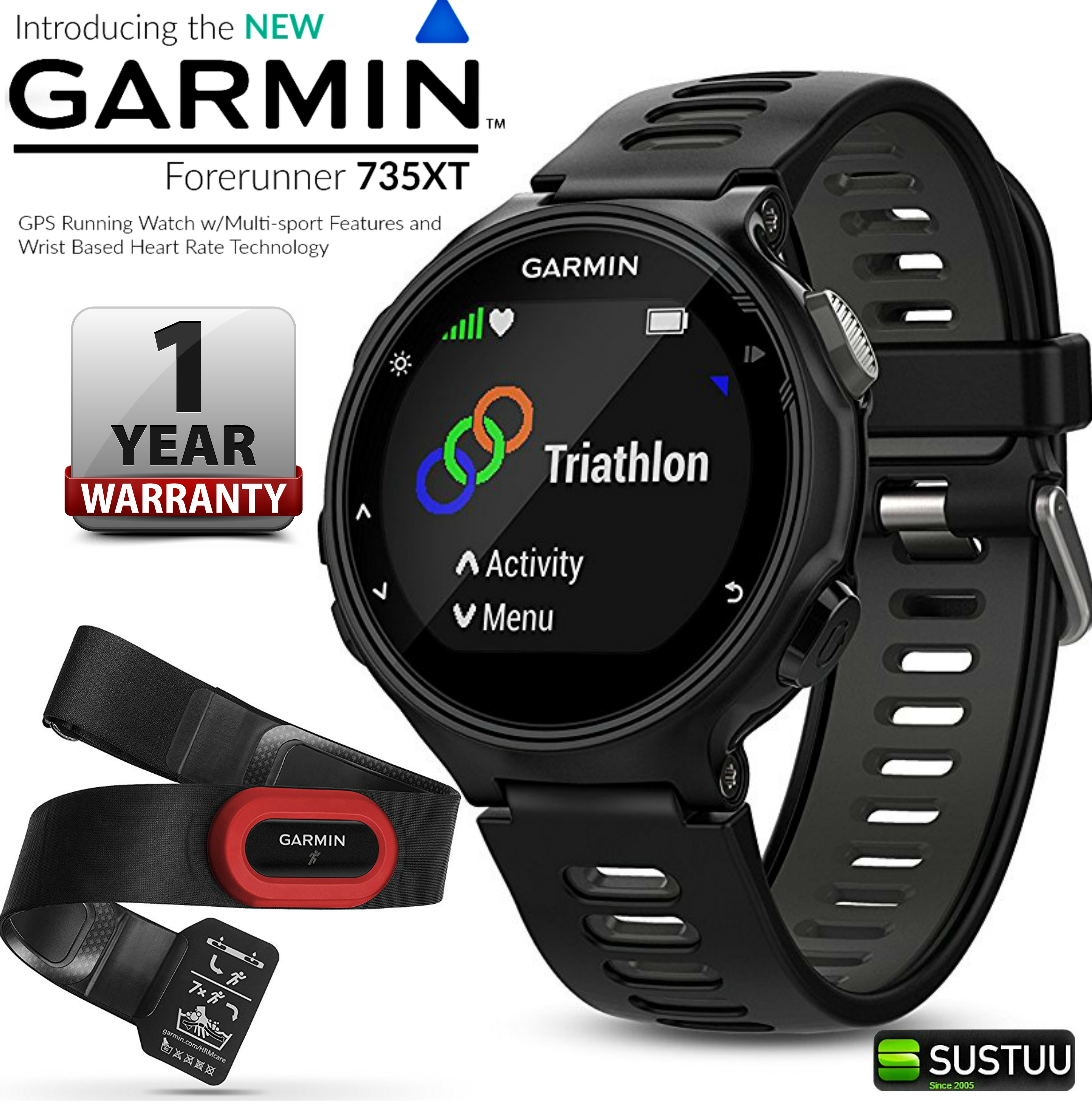Garmin Forerunner 735XT GPS Fitness Sports HR Monitor Run ...