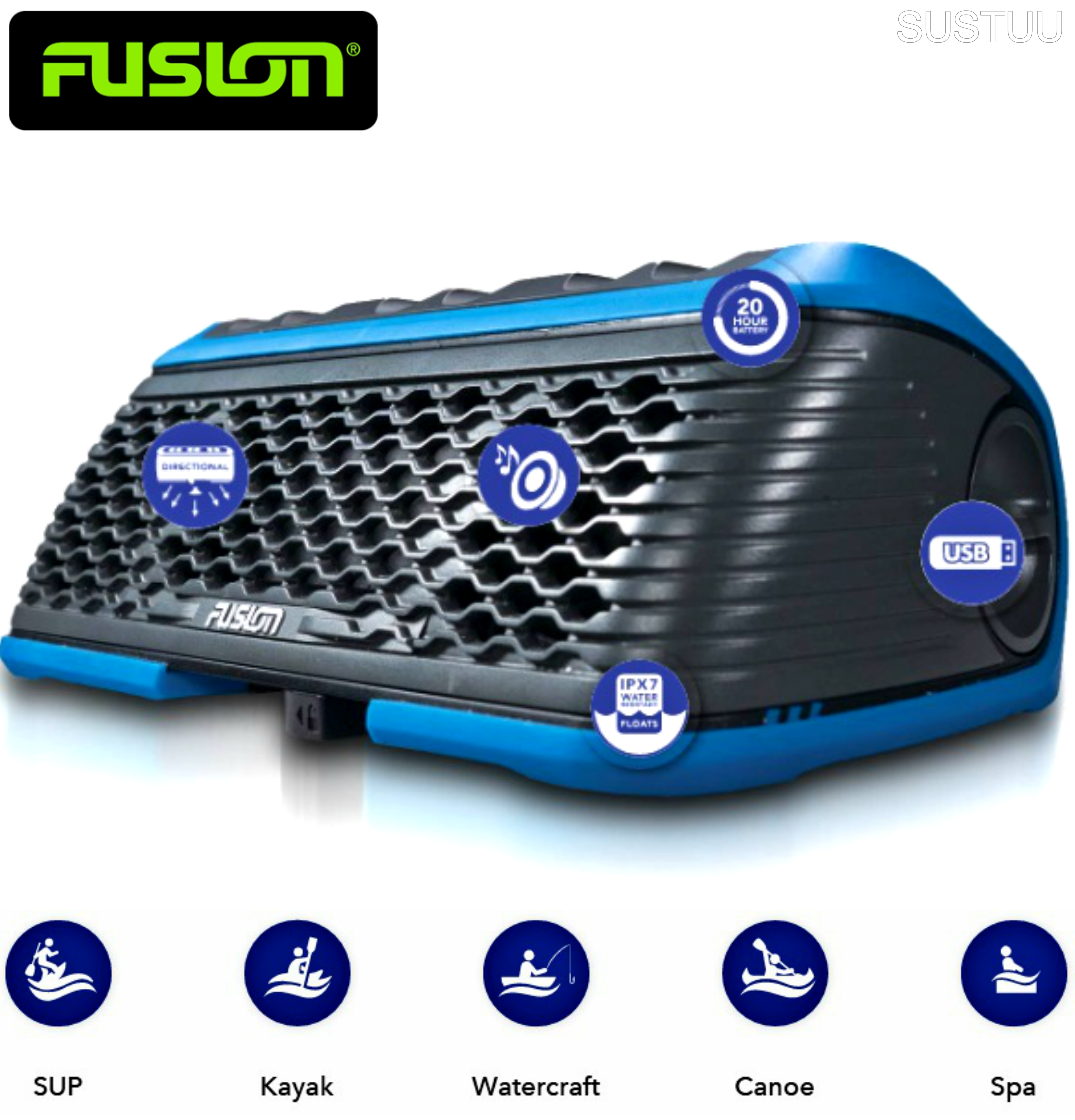 Fusion Stereo Active Waterproof Speaker Bluetooth/USB/AM/FM/iPhone/Android BLUE