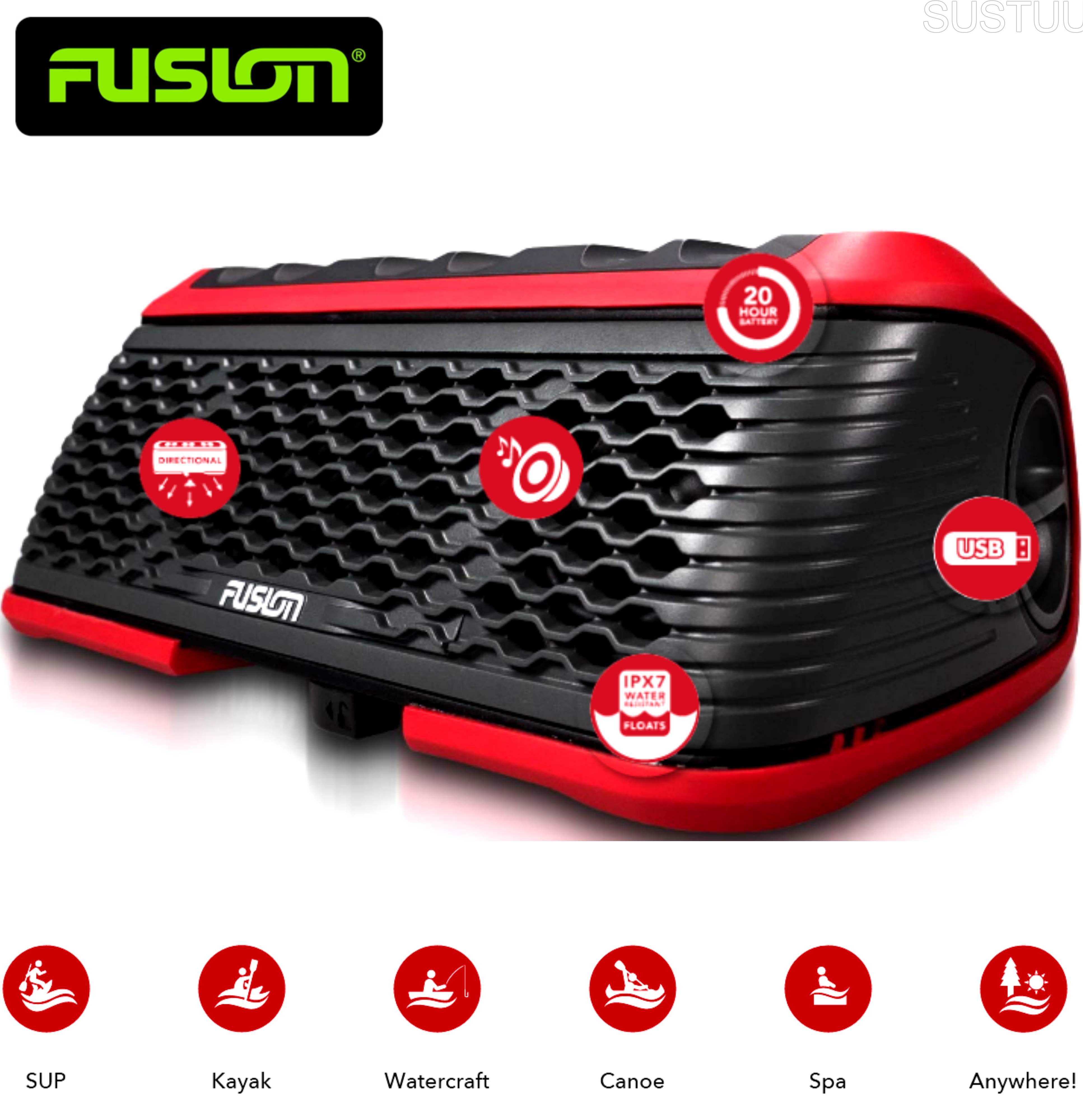 Fusion Stereo Active Waterproof Speaker Bluetooth/USB/AM/FM/iPhone/Android - RED