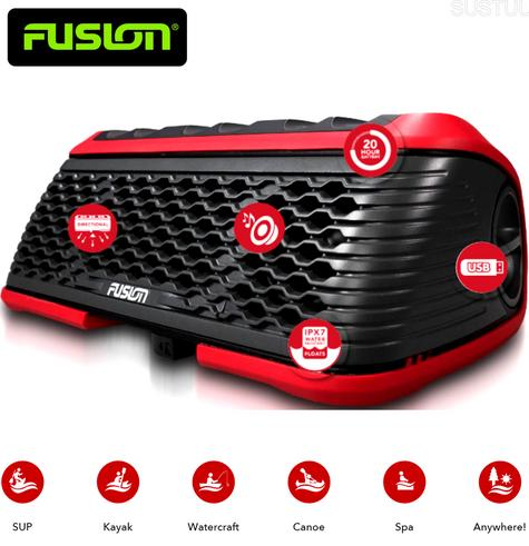 Fusion Stereo Active Waterproof Speaker Bluetooth/USB/AM/FM/iPhone/Android - RED Thumbnail 1