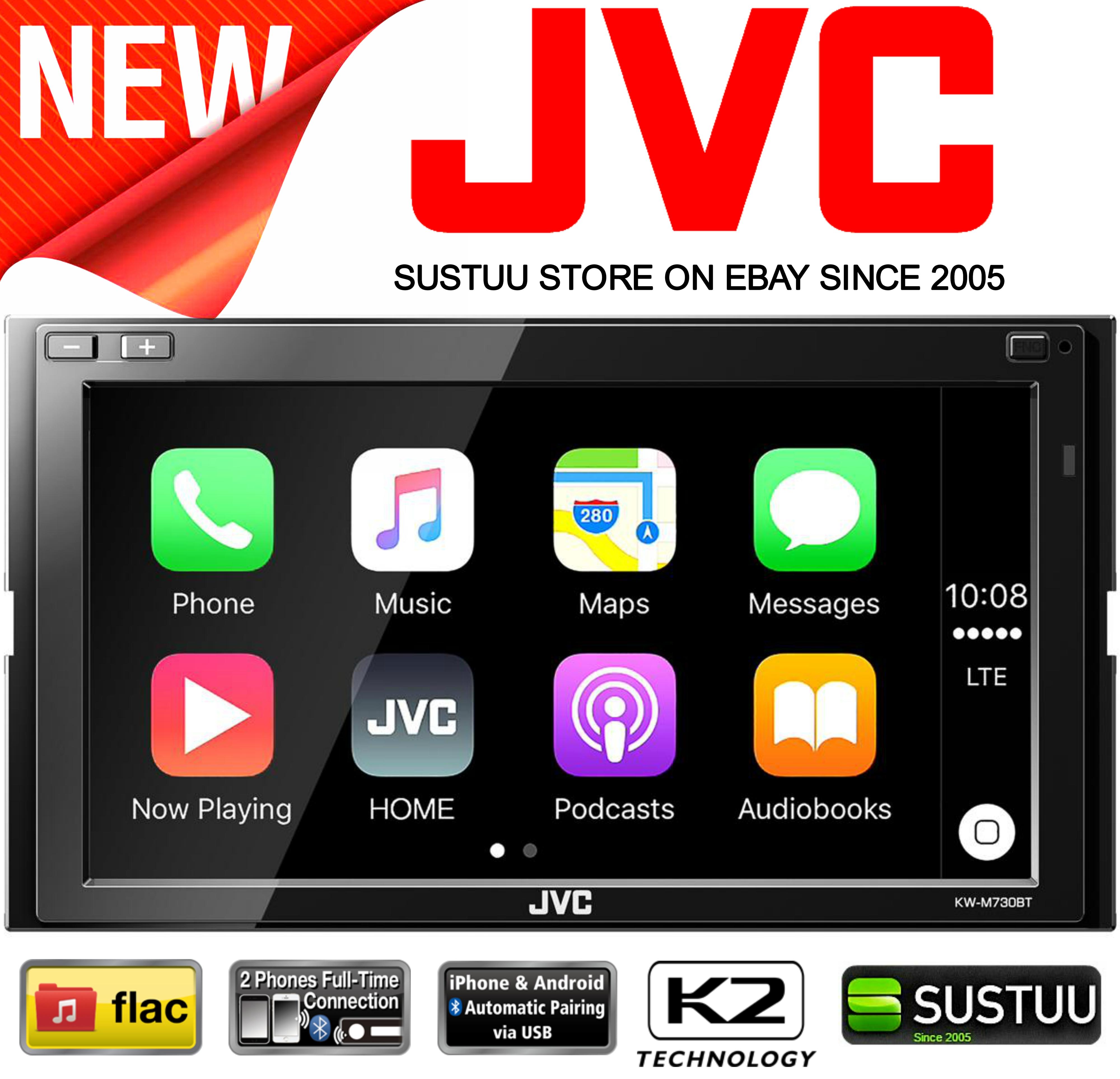 jvc kw m730bt 6 8 apple carplay android auto bluetooth gps screen car stereo new ebay. Black Bedroom Furniture Sets. Home Design Ideas