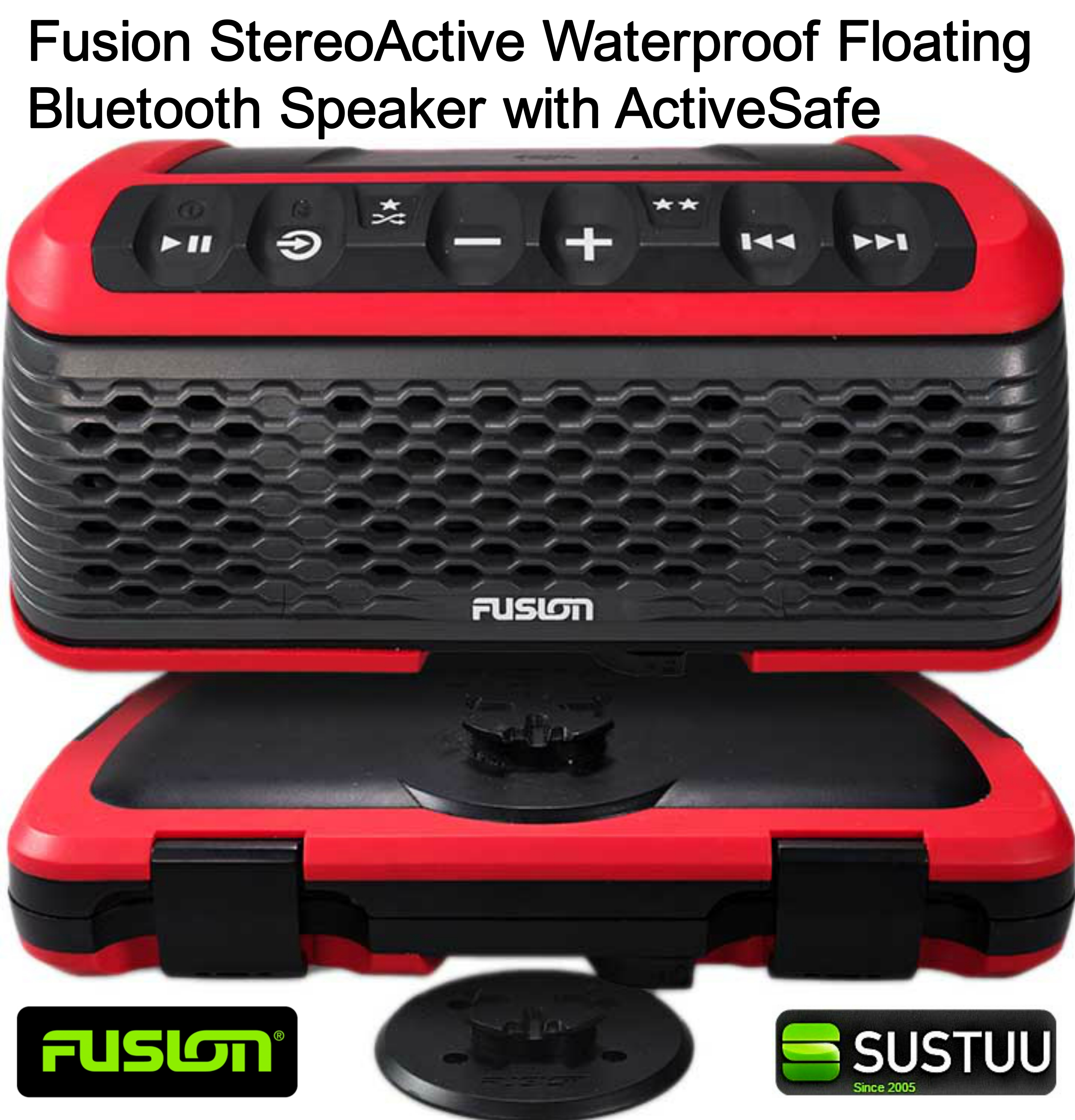 Fusion StereoActive Waterproof Floating Bluetooth Speaker with ActiveSafe - RED