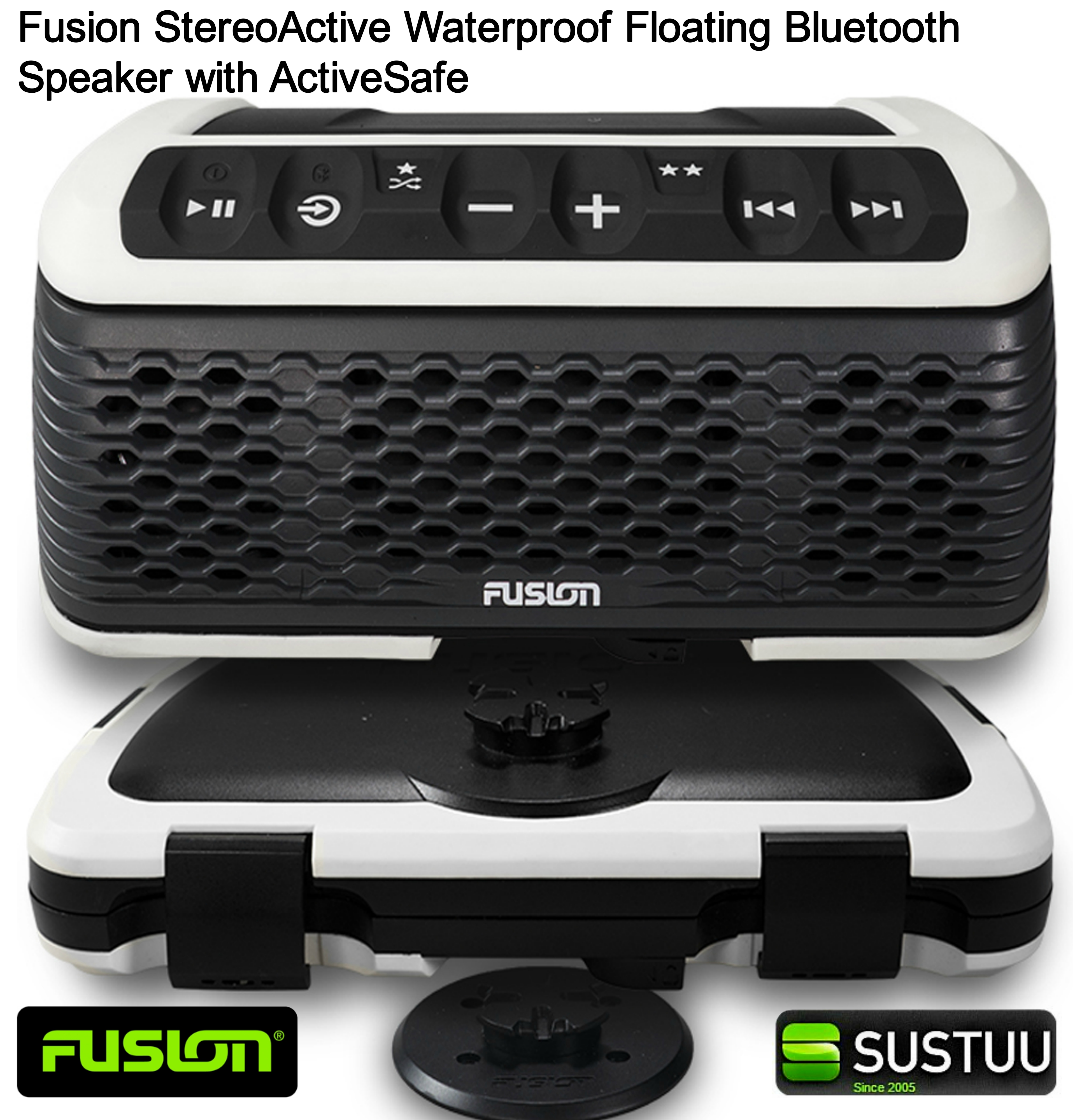 Fusion StereoActive Waterproof Floating Bluetooth Speaker with ActiveSafe WHITE