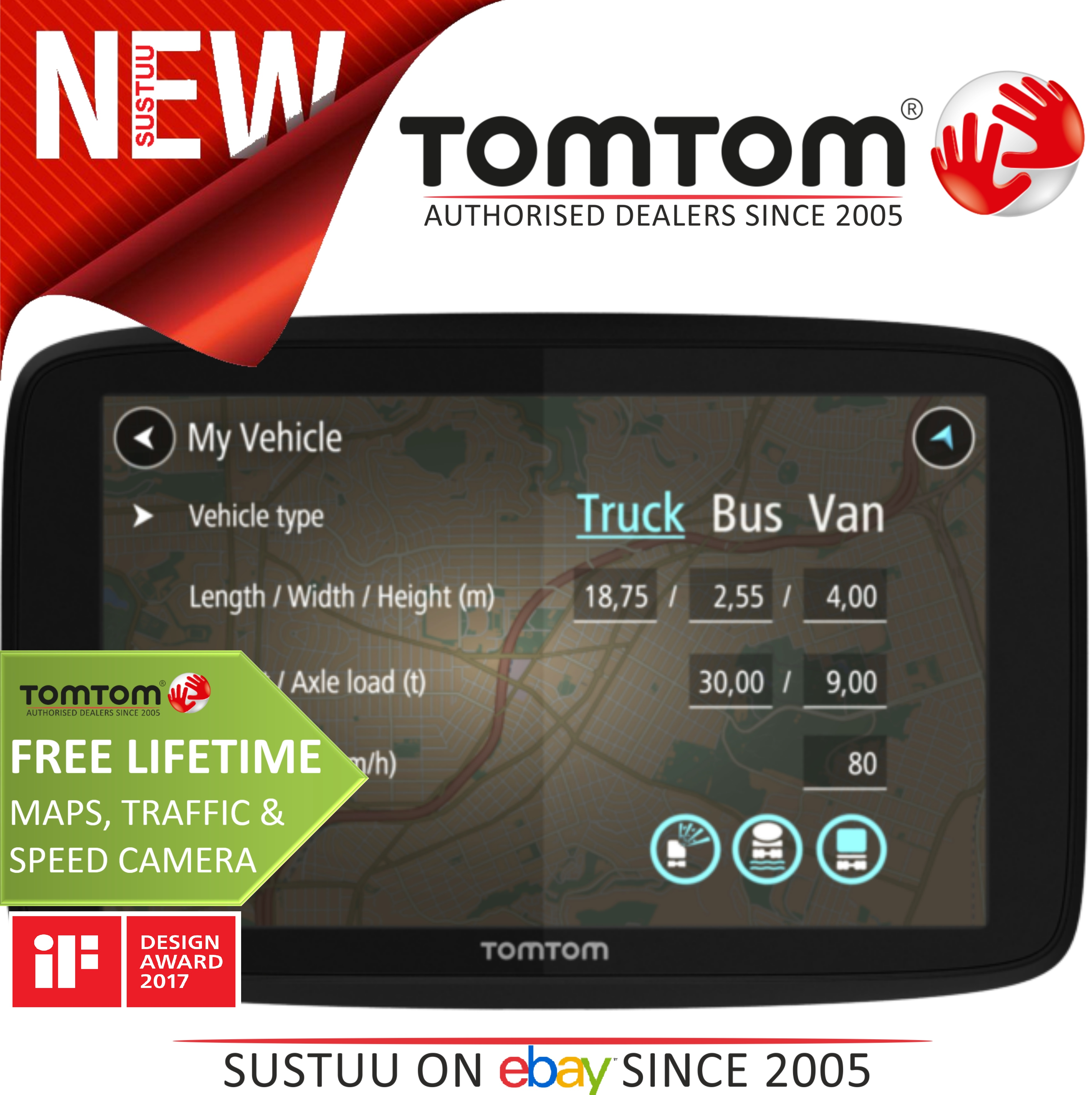 tomtom go professional 6250 trucker truck bus van car gps satnav lifetime update ebay. Black Bedroom Furniture Sets. Home Design Ideas