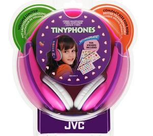 JVC Tiny Phones Kids Stereo EarPhones Noise Limiter for iPhone MP3 Player Pink Thumbnail 3