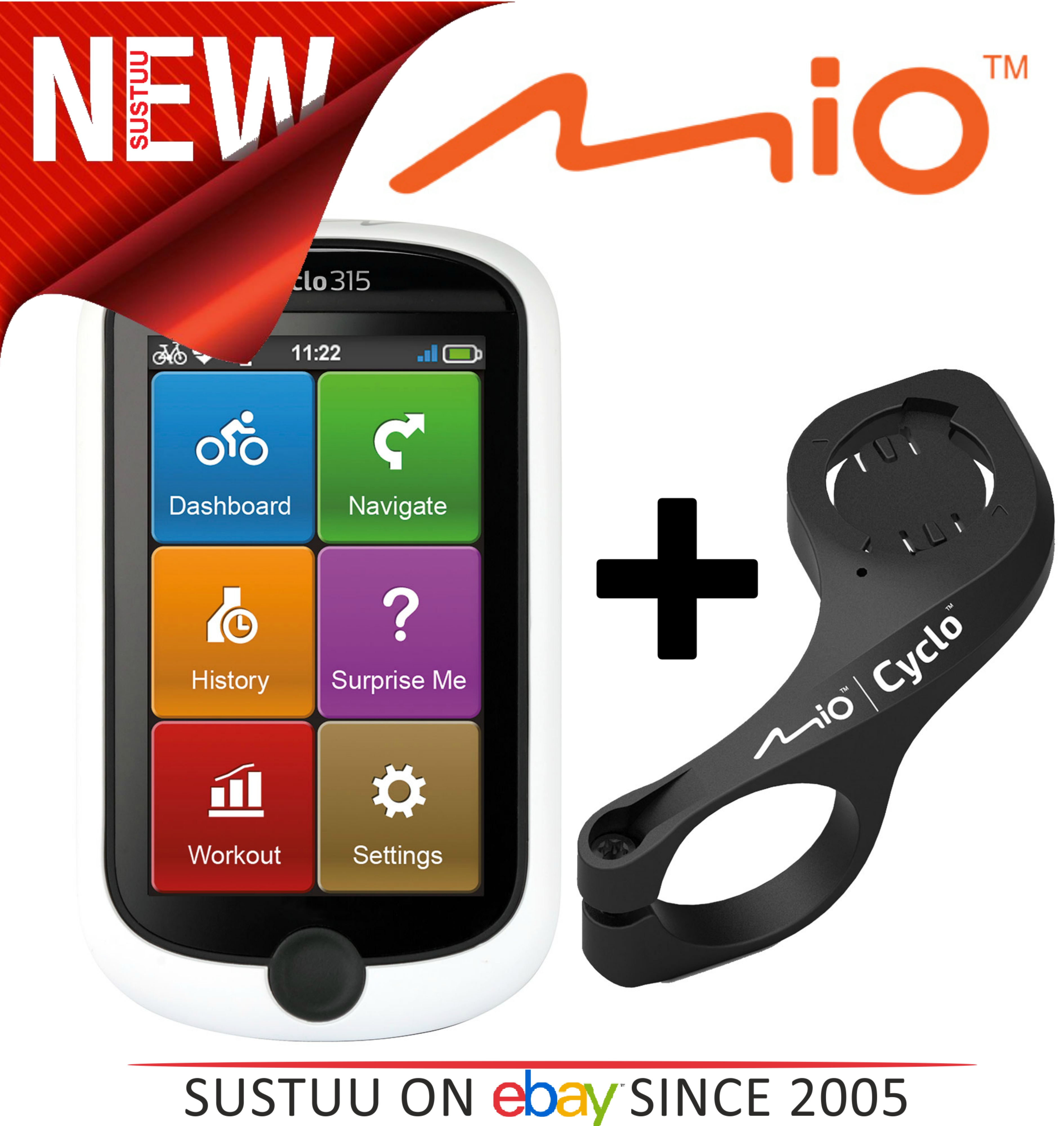 Mio Cyclo 315 Bicycle Wireless GPS Navigation Unit Western EU Map + Front Mount