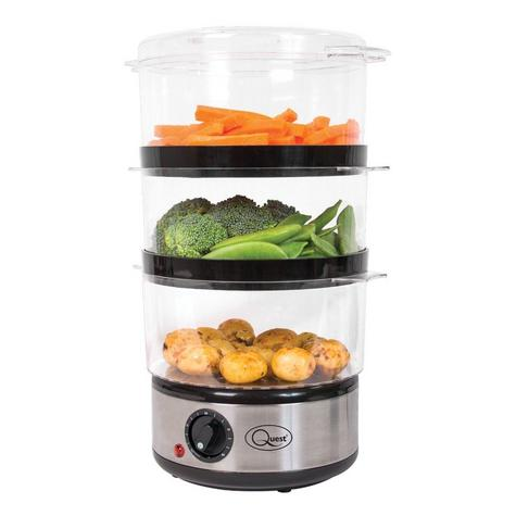 Quest 3 Tier Layer Stainless Steel Compact Food Steamer & Rice Bowl 6L 400W NEW Thumbnail 4