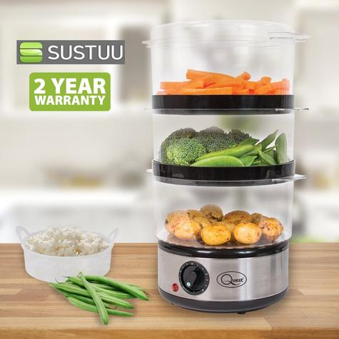 Quest 3 Tier Layer Stainless Steel Compact Food Steamer & Rice Bowl 6L 400W NEW Thumbnail 1