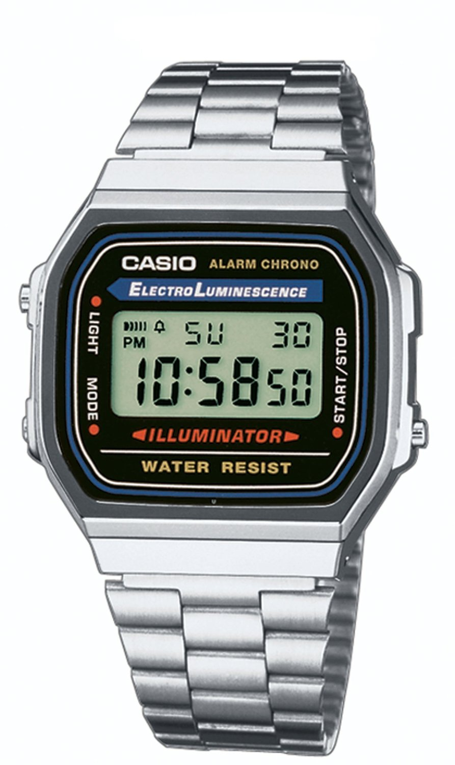 Casio A168WA-1YES Digital Retro 80's Illuminator Stainless ...